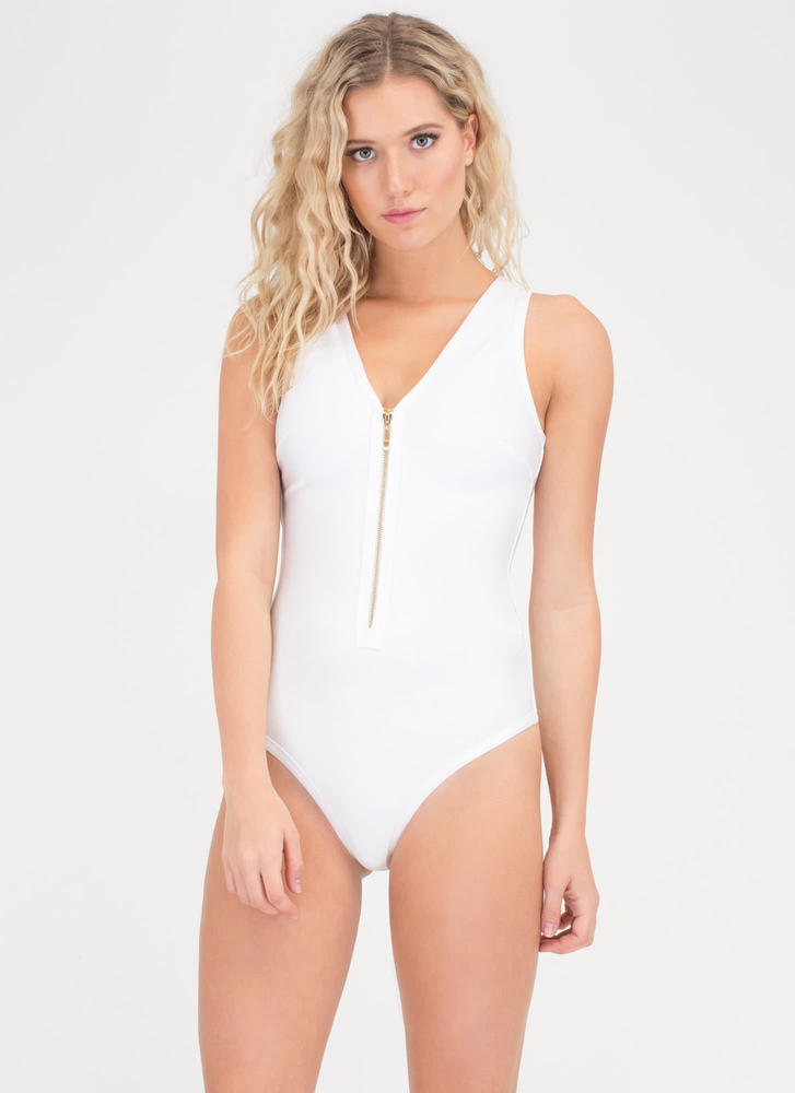 Headliner Lace-Up One-Piece Swimsuit WHITE (Final Sale)