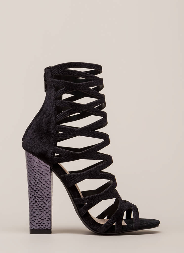 So Hammered Chunky Caged Velvet Heels BLACK (You Saved $27)
