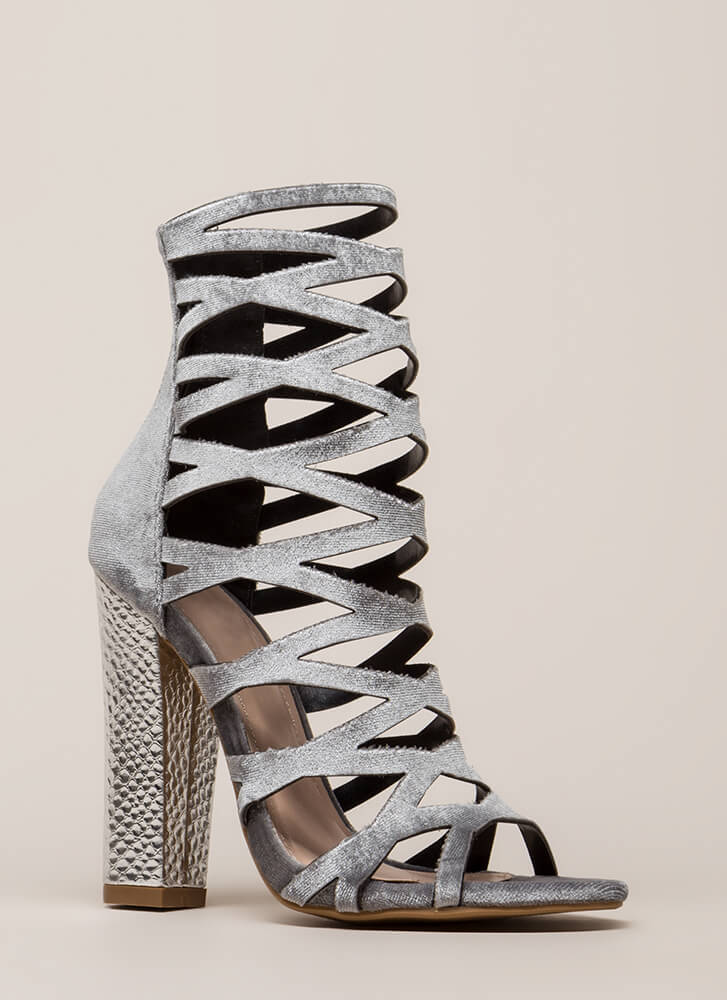 So Hammered Chunky Caged Velvet Heels GREY (You Saved $27)