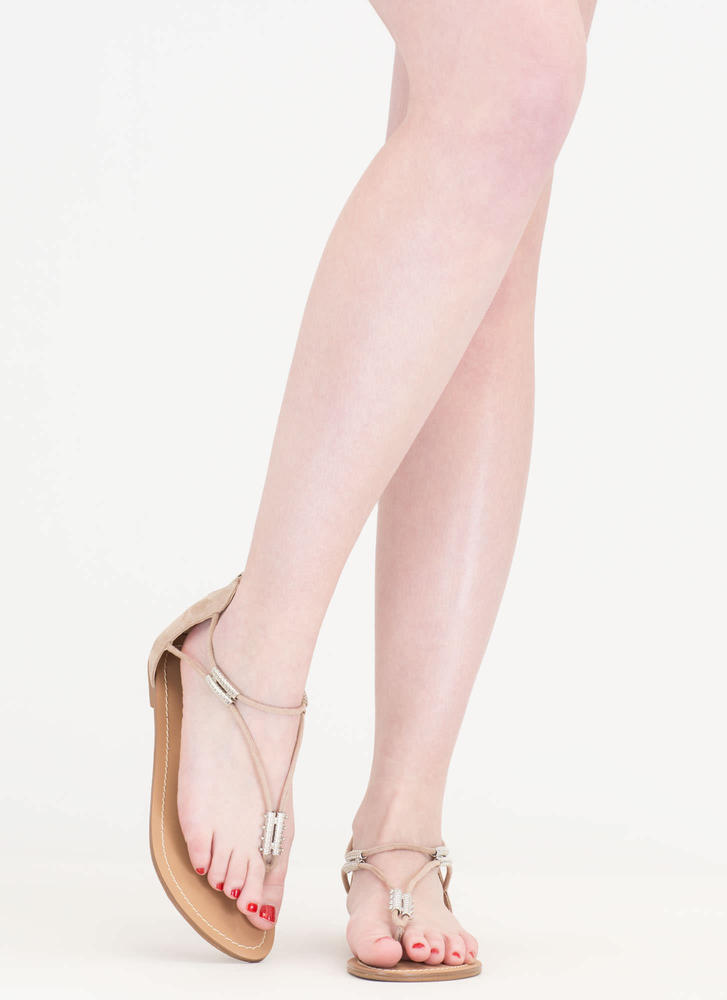 Vacay Ready Tube Bead Thong Sandals NUDE