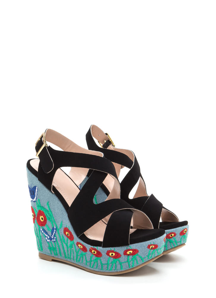 Spring Fling Strappy Embroidered Wedges BLACK