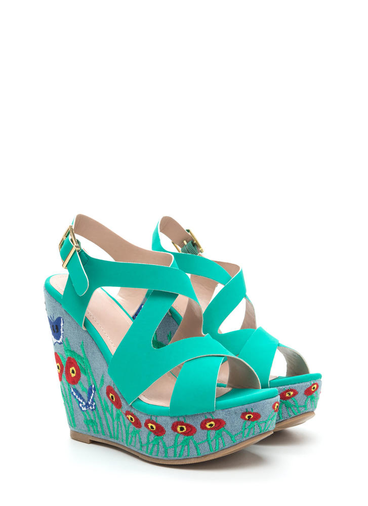 Spring Fling Strappy Embroidered Wedges TURQUOISE