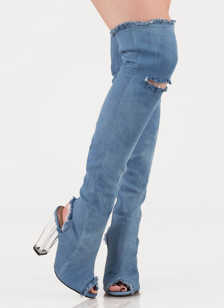 Clear Idea Chunky Denim Thigh-High Boots BLUE