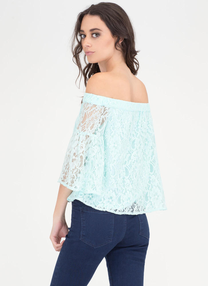 Que Bell-a Floral Lace Off-Shoulder Top BLUE (Final Sale)