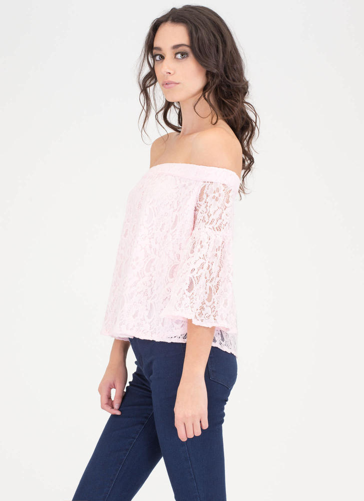 Que Bell-a Floral Lace Off-Shoulder Top PINK (Final Sale)