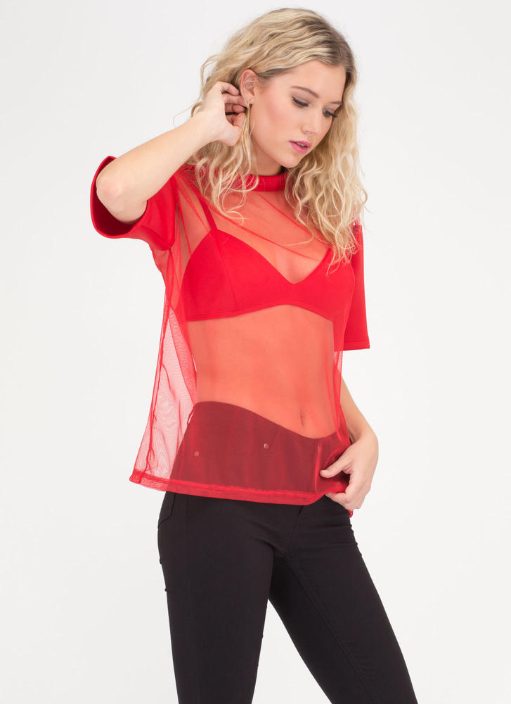 I Love You Bra Layered Sheer Mesh Top RED