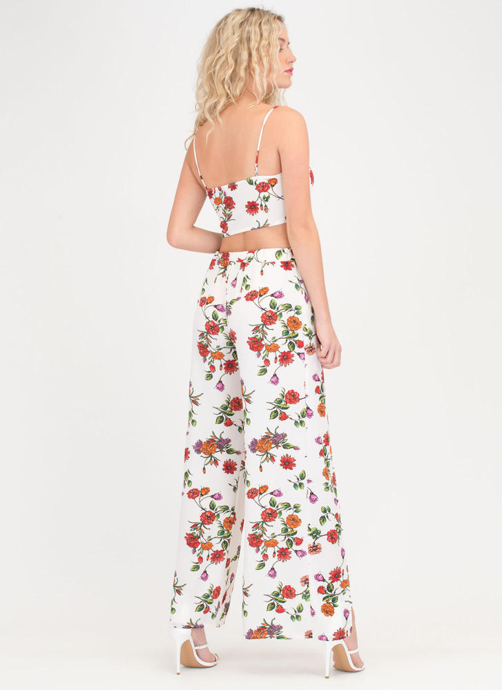 Flirty Florals Crop Top 'N Pants Set WHITE (You Saved $26)