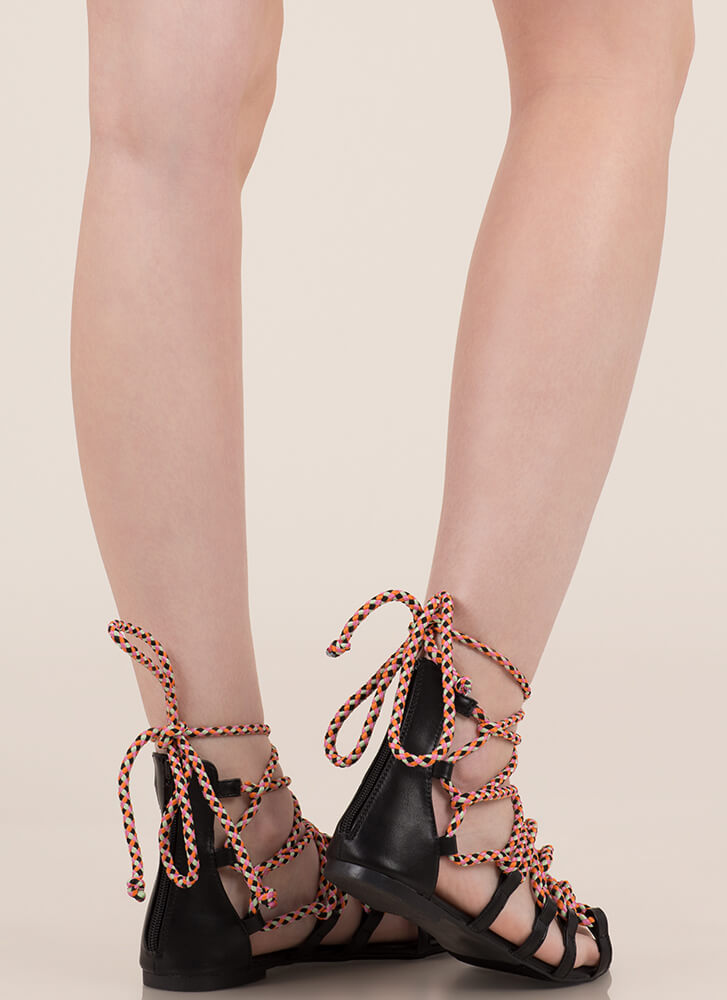 Caught In A Web Lace-Up Sandals BLACK