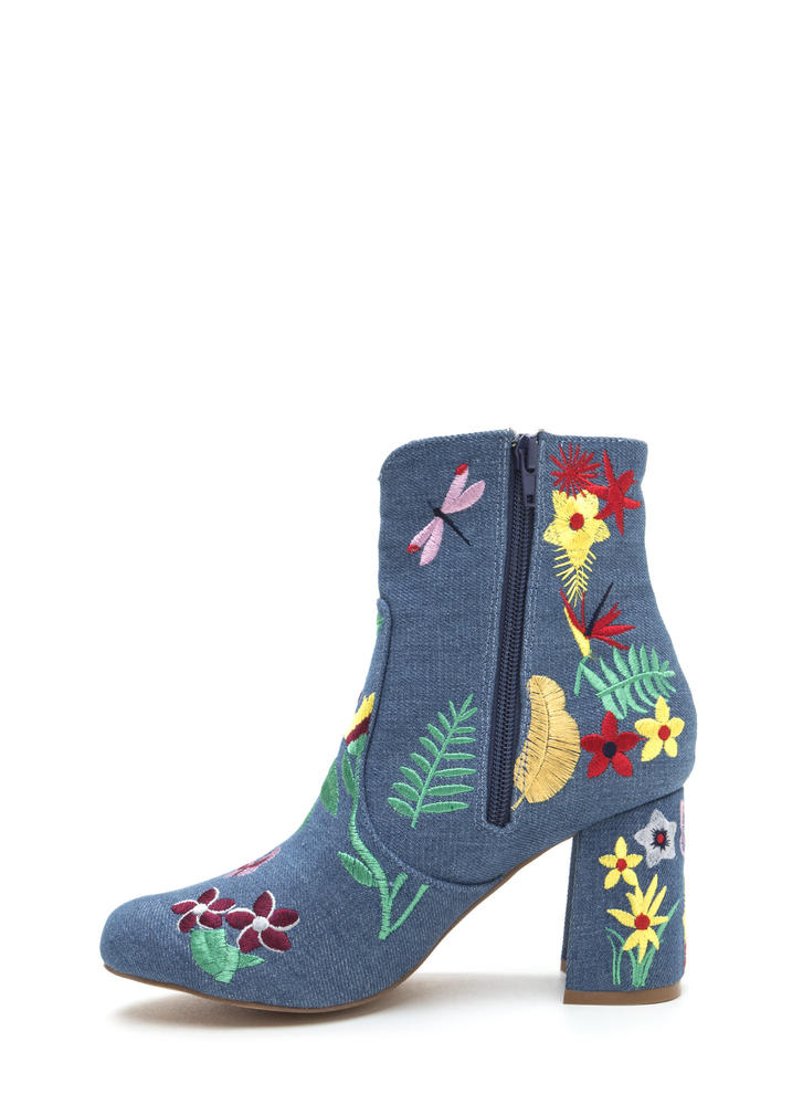Garden Path Embroidered Chunky Booties BLUE