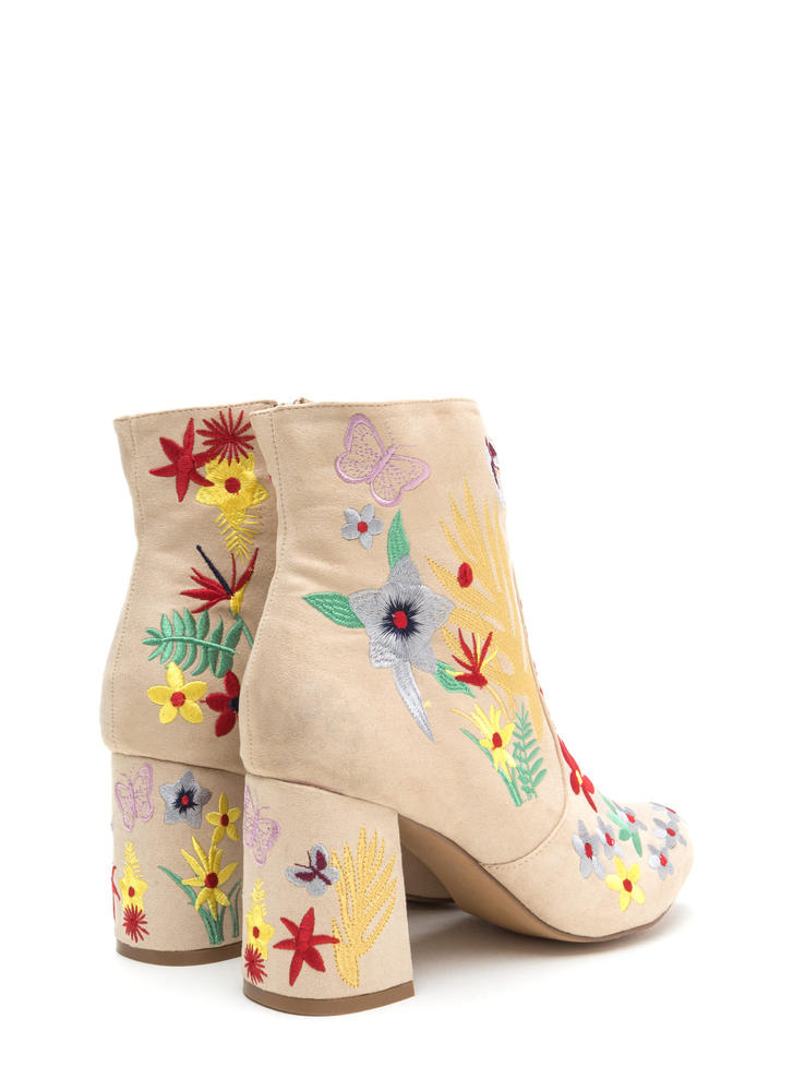 Garden Path Embroidered Chunky Booties NUDE