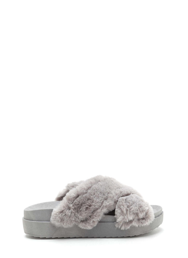 Thick And Thick Faux Fur Slide Sandals GREY