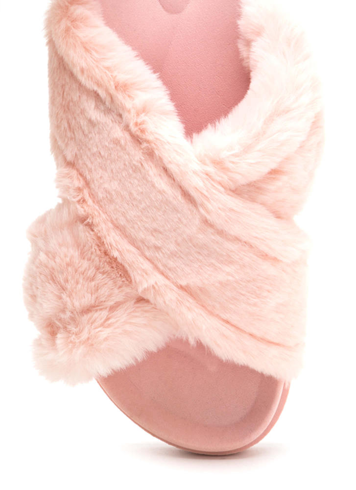 Thick And Thick Faux Fur Slide Sandals PINK