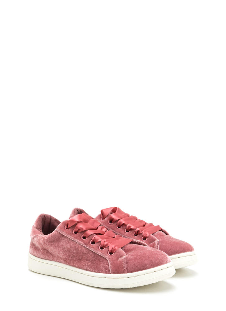 Tie The Ribbon Velvet Sneakers MAUVE