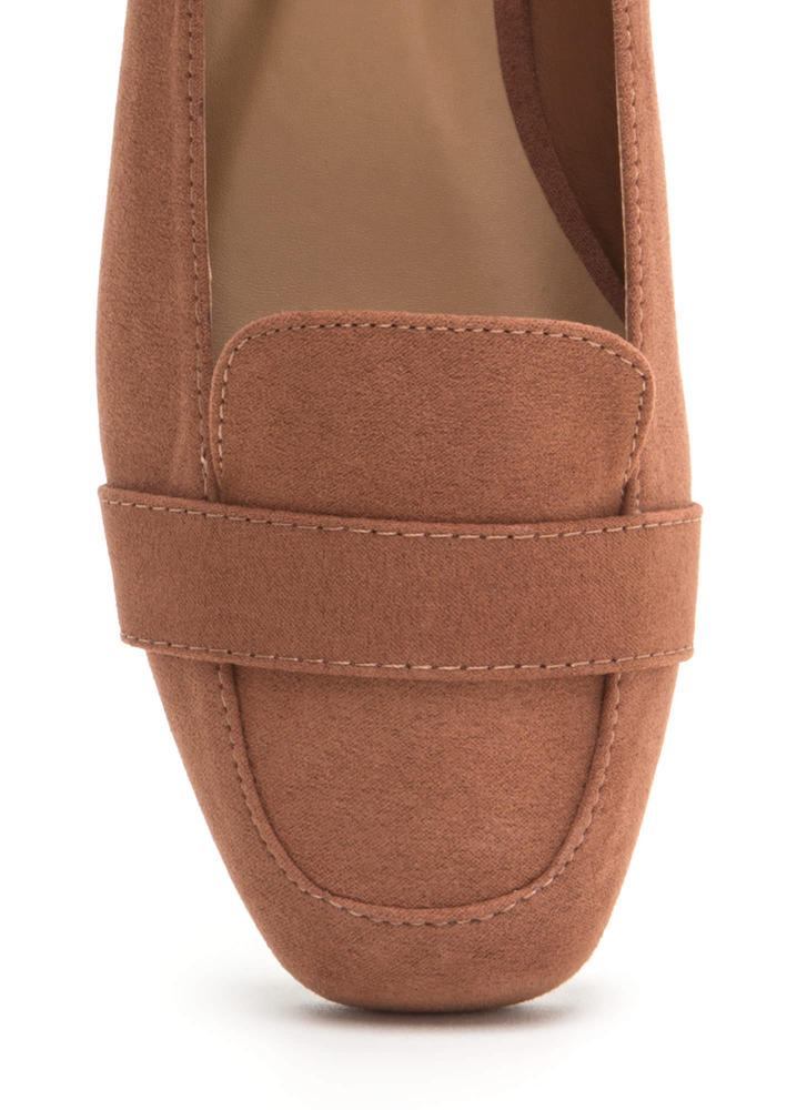 Be Square Faux Suede Smoking Flats MOCHA