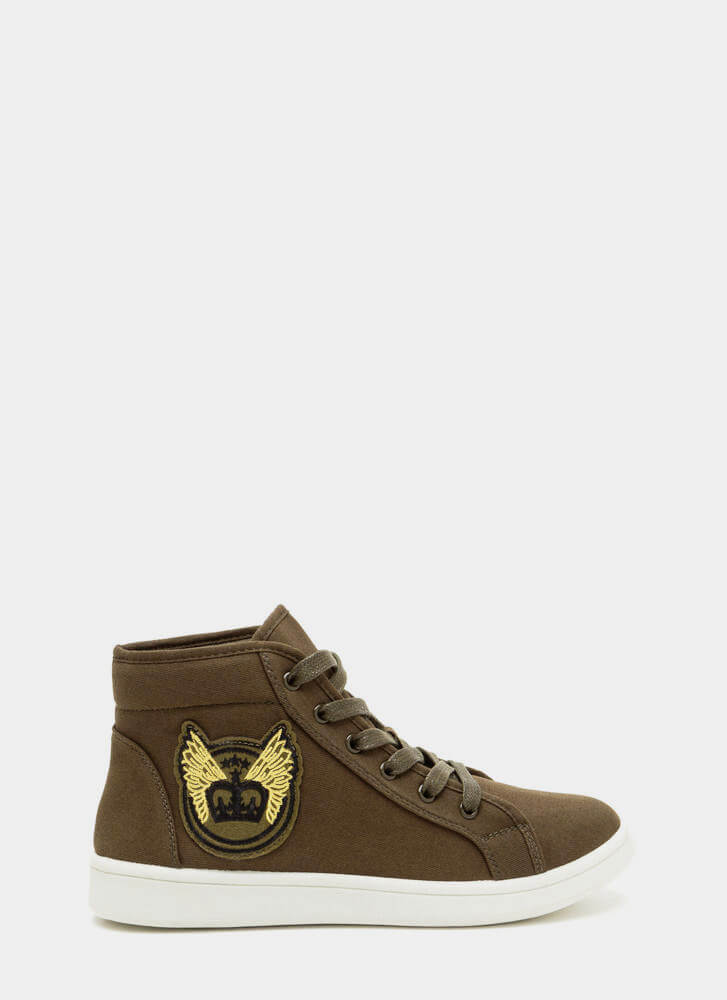 Flying High-Top Patch Sneakers OLIVE