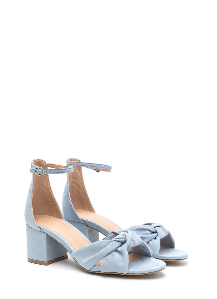 Knot So Bad Faux Suede Block Heels BLUEGREY