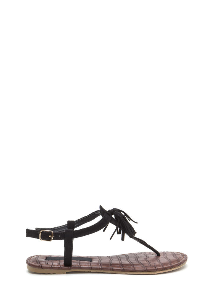 Two-Time Tasseled T-Strap Sandals BLACK