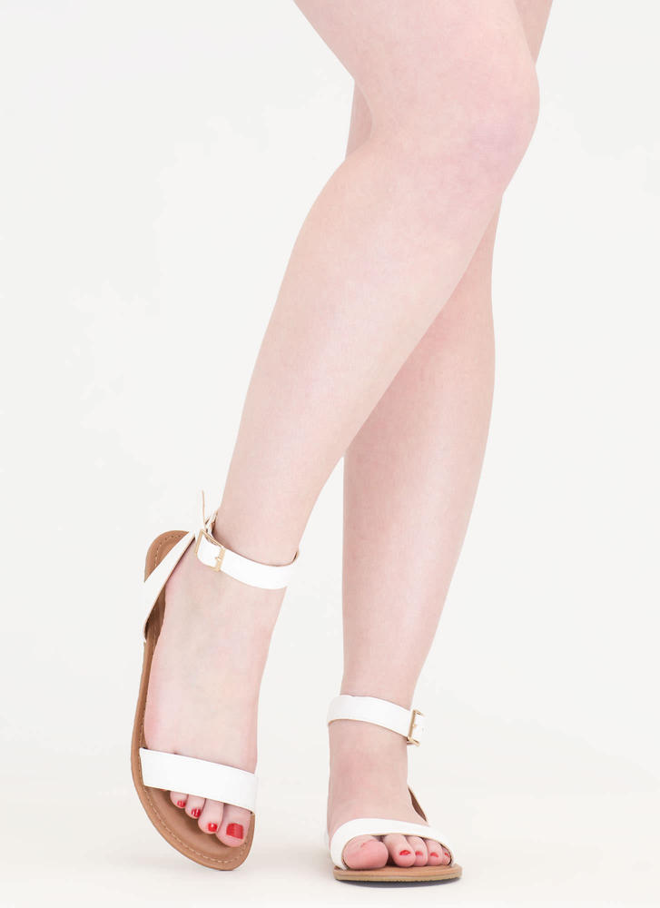 Clean Cut Buckled Strappy Sandals WHITE