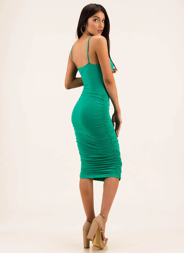 Ruche Hour Bodycon Midi Dress GREEN