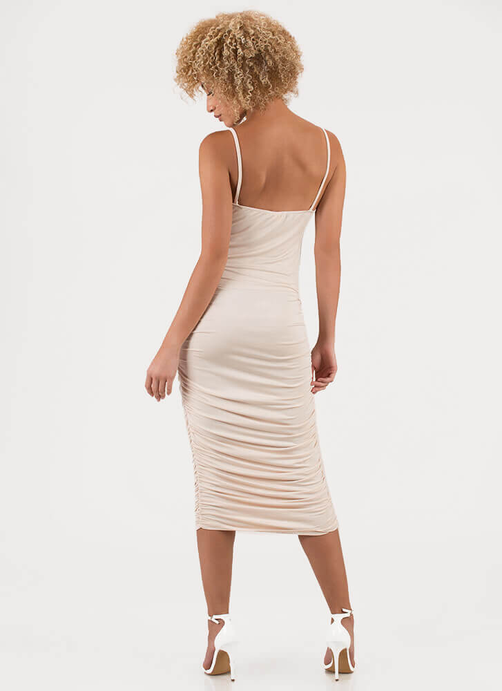 Ruche Hour Bodycon Midi Dress NUDE