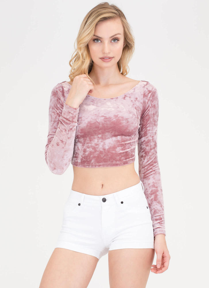 ae6136c9857 Crushed It Velvet Wide Neck Crop Top