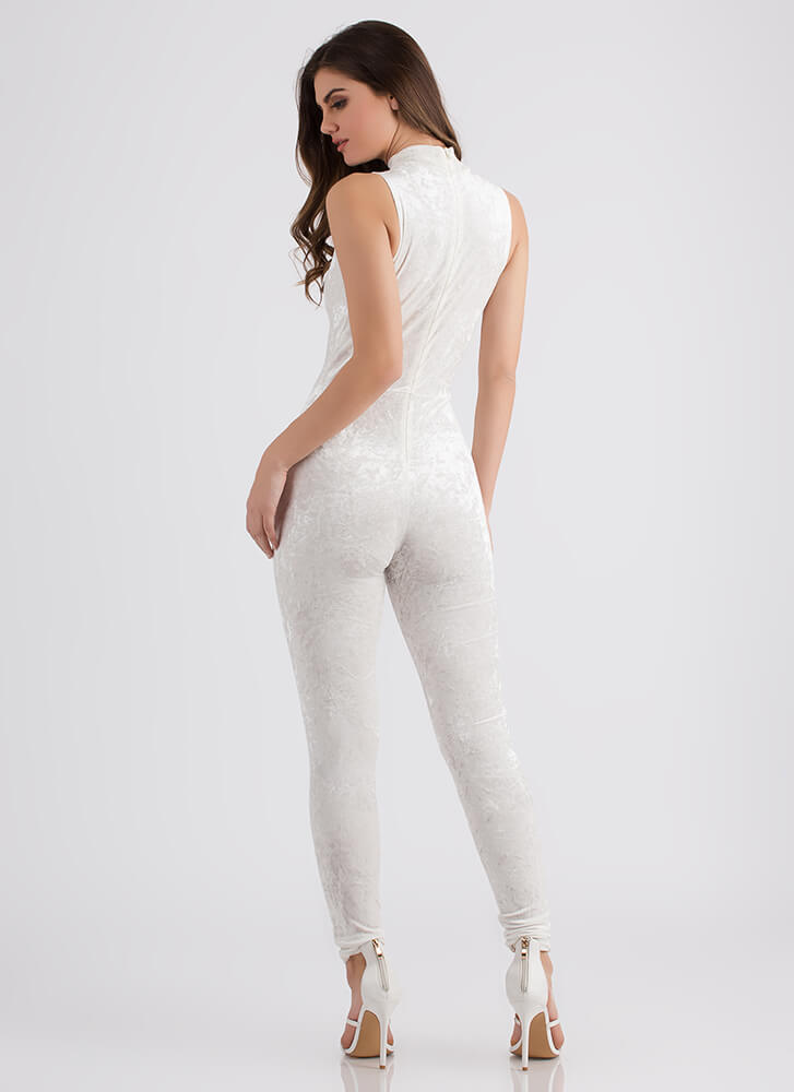 My Latest Crush Velvet Plunging Jumpsuit IVORY