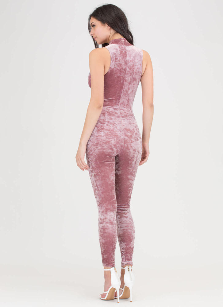 My Latest Crush Velvet Plunging Jumpsuit MAUVE