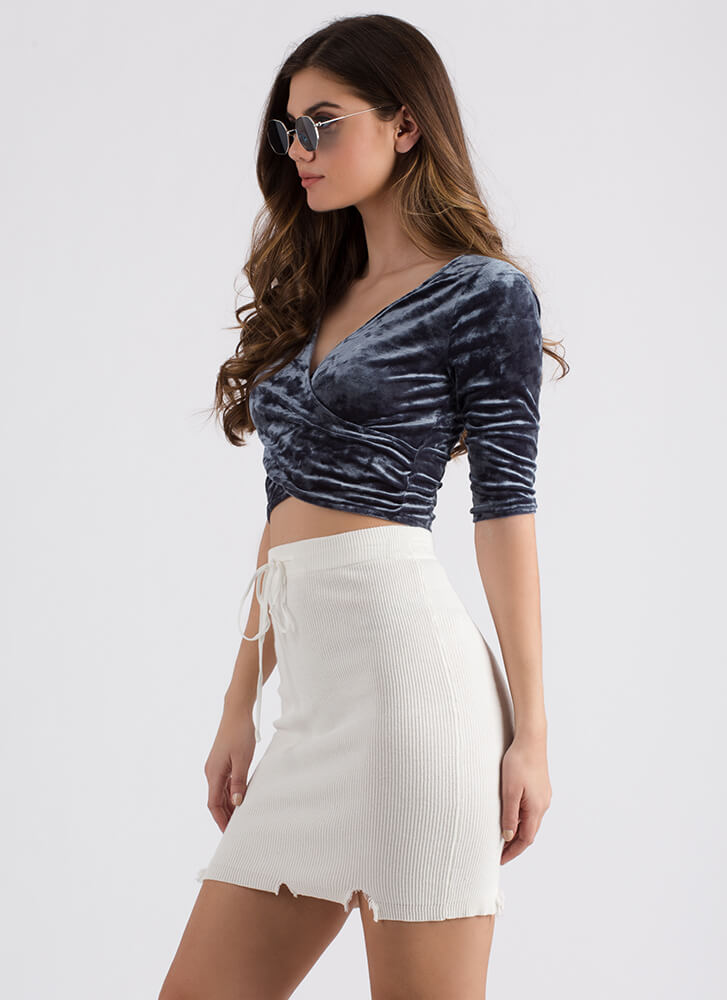 Wrap Party Crushed Velvet Crop Top GREY
