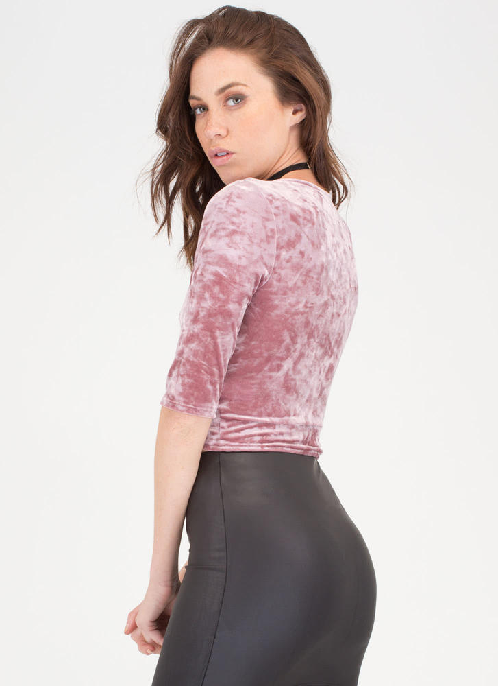 Wrap Party Crushed Velvet Crop Top MAUVE
