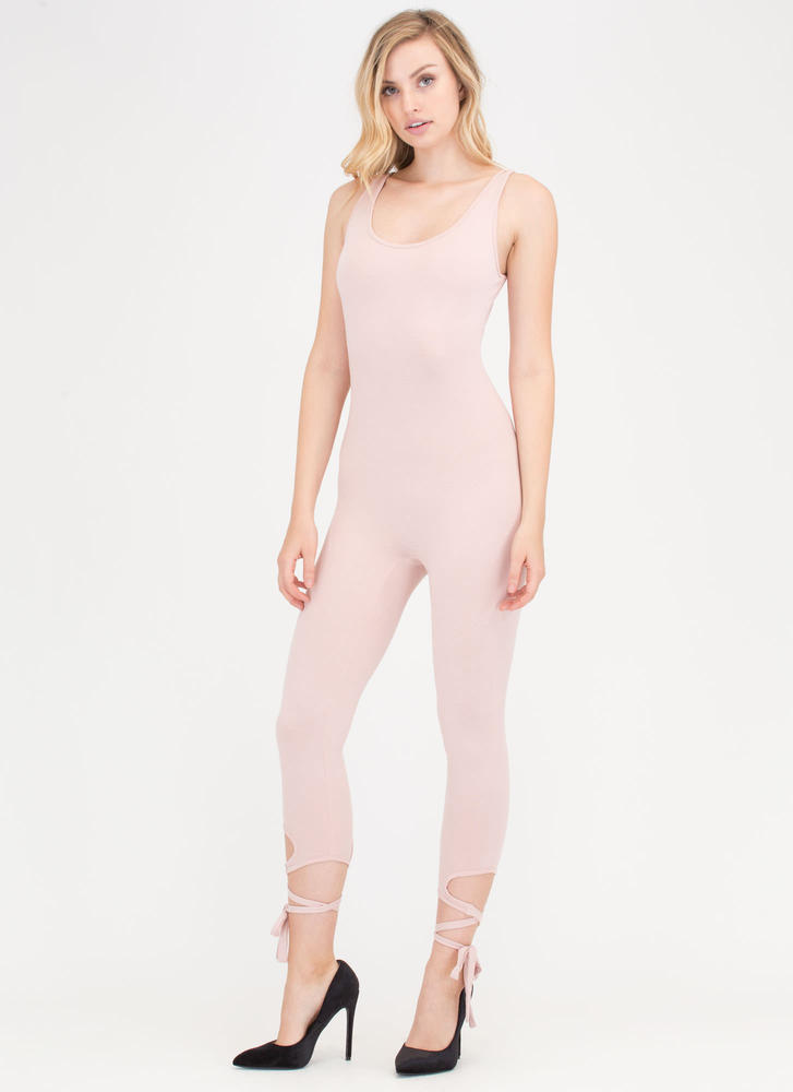 Step Right Up Tied Ankle Jumpsuit BLUSH
