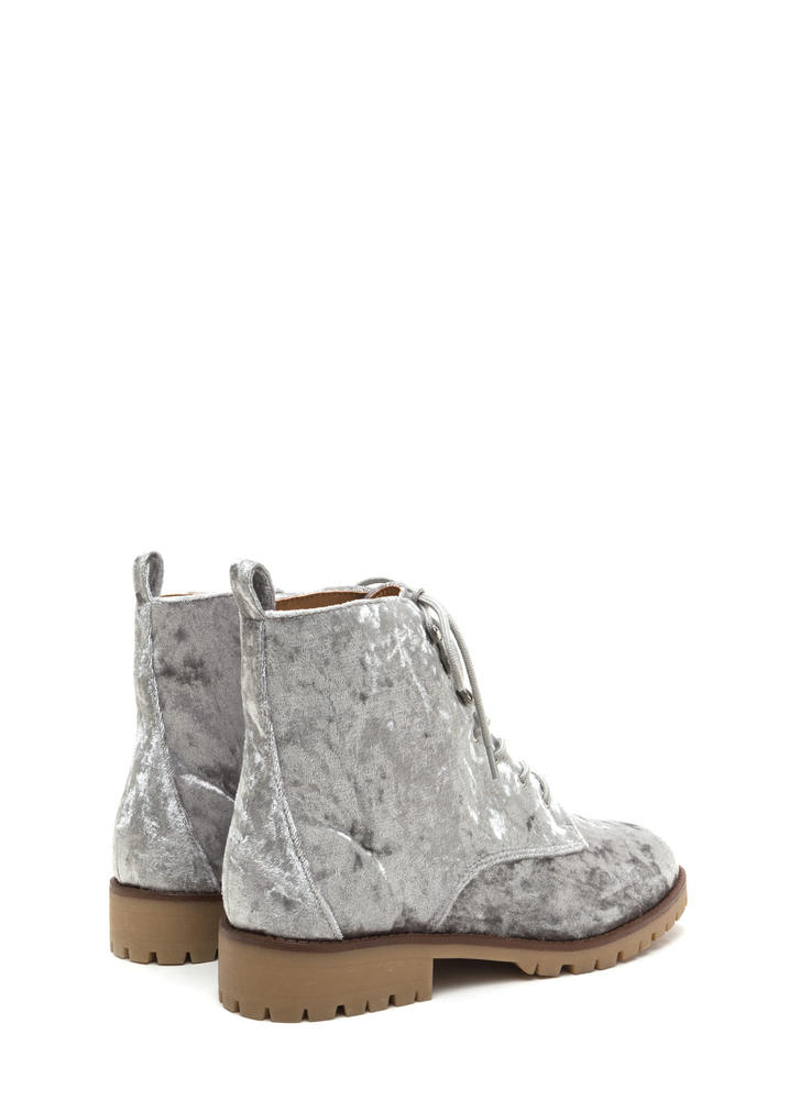 Velvet Touch Lace-Up Combat Boots LTGREY