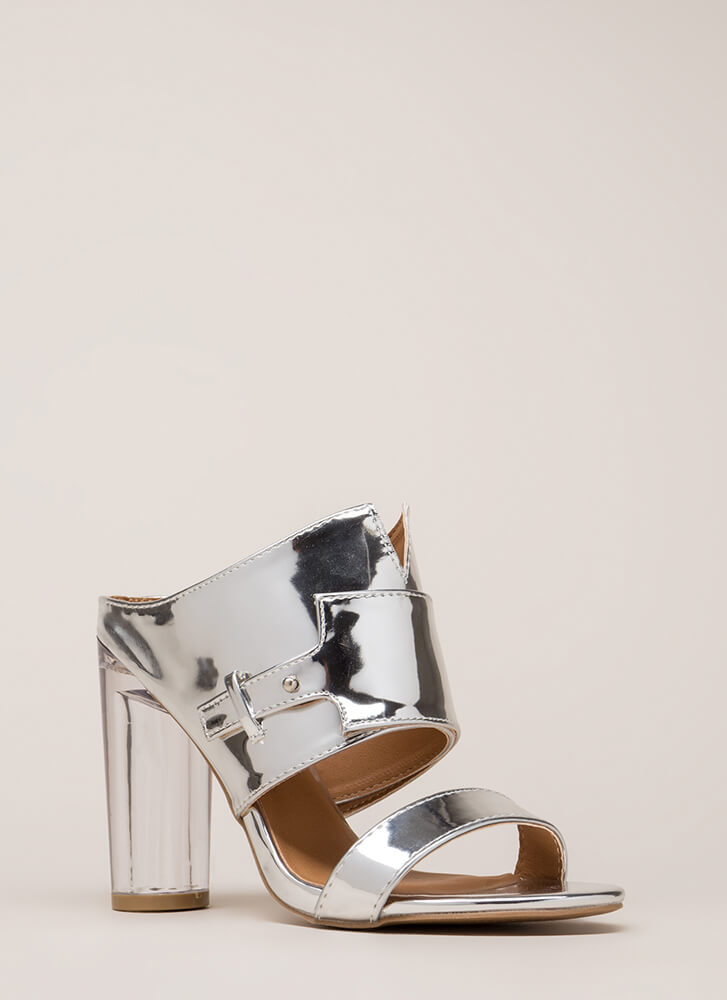 Gleam Up Clear Chunky Mule Heels SILVER