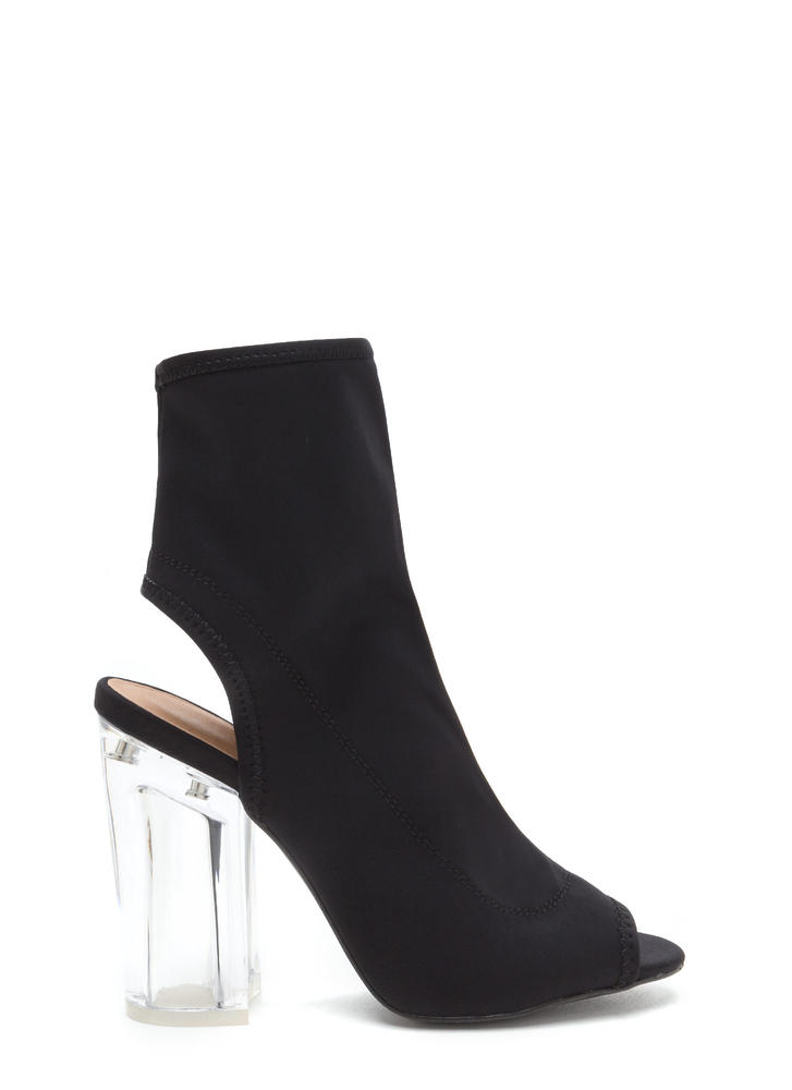 Clearly A Cut-Out Above Chunky Booties BLACK