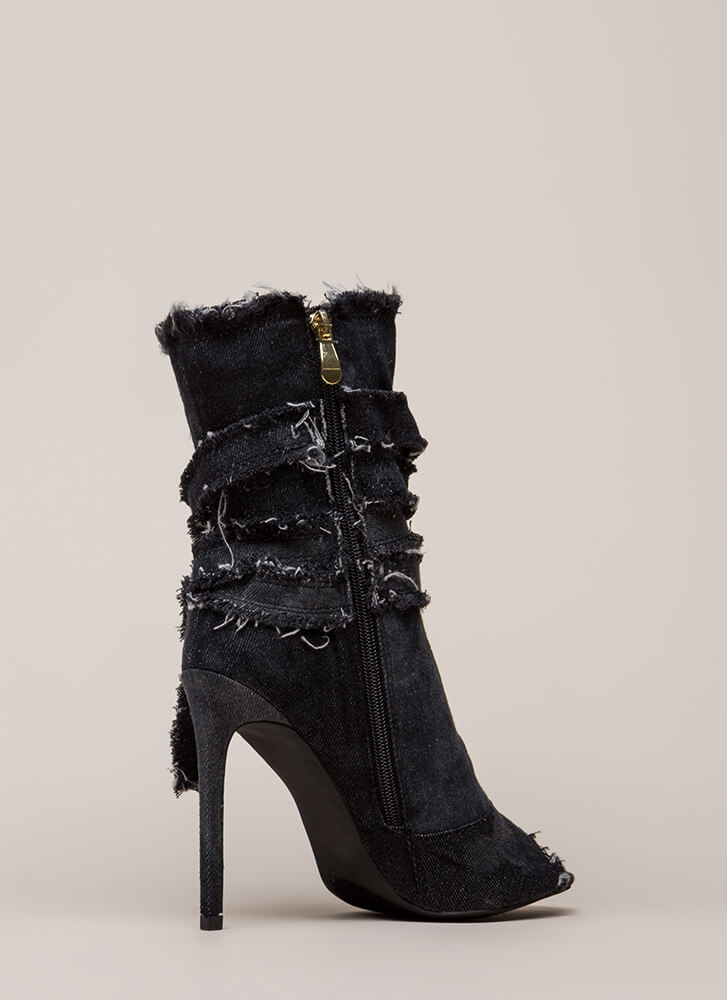 Jean Well Distressed Denim Booties BLACK