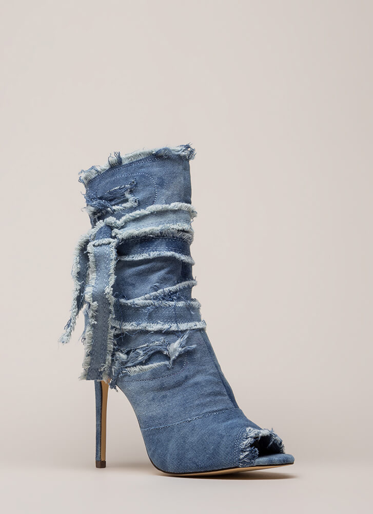 Jean Well Distressed Denim Booties BLUEWASH