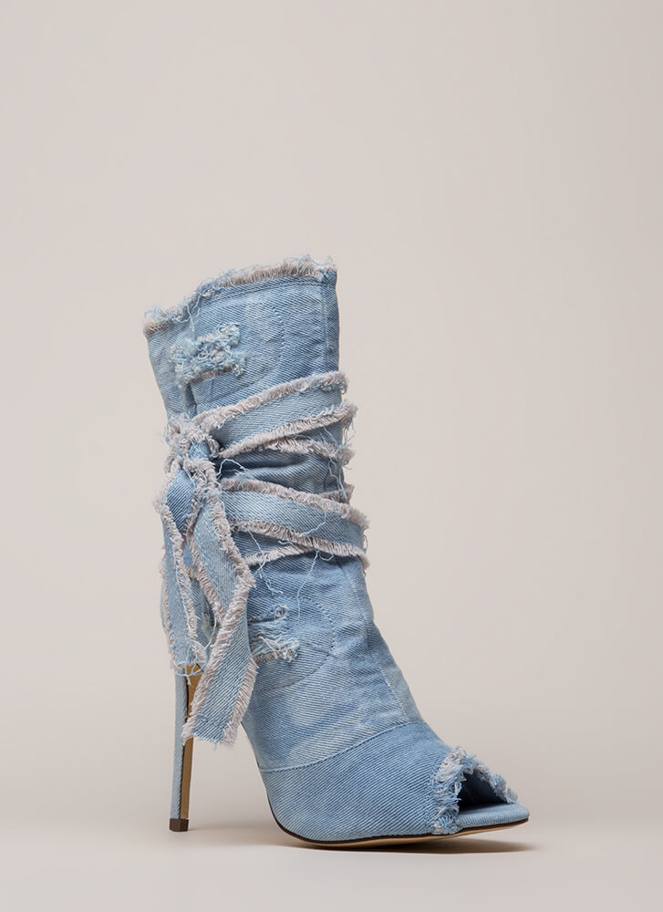 Jean Well Distressed Denim Booties LTDENIM