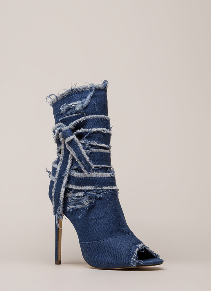 Jean Well Distressed Denim Booties MEDIUMBLUE