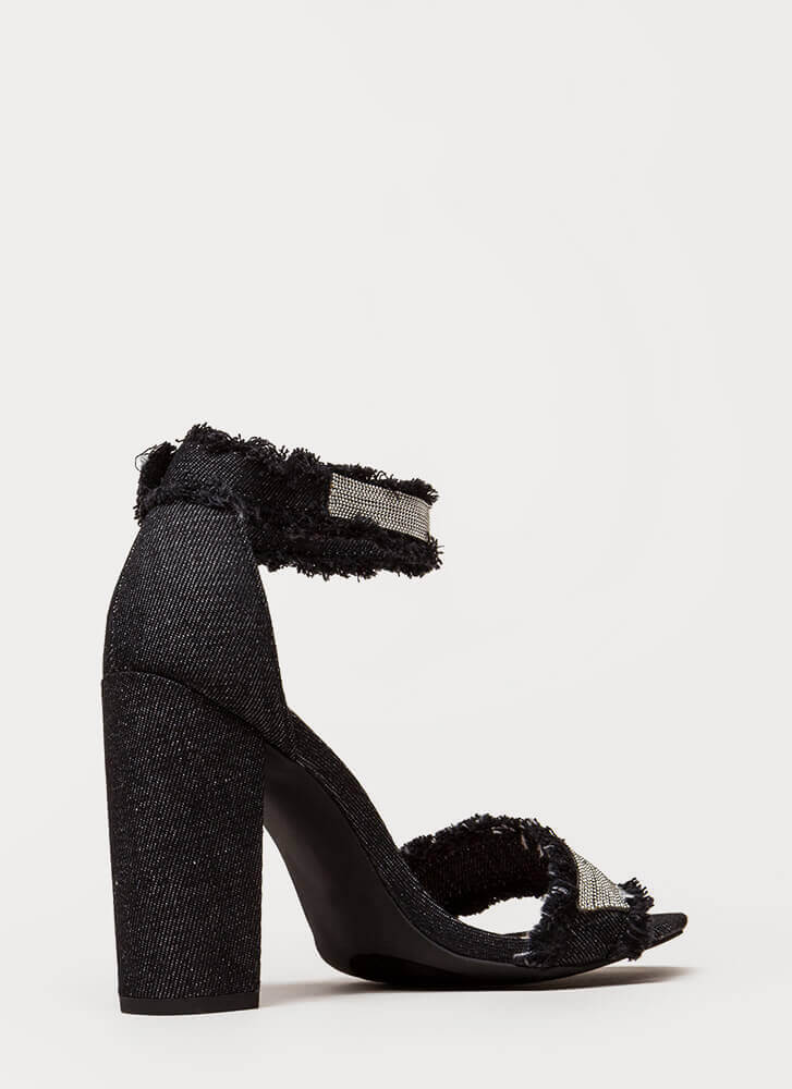 Bead-azzled Chunky Frayed Denim Heels BLACK