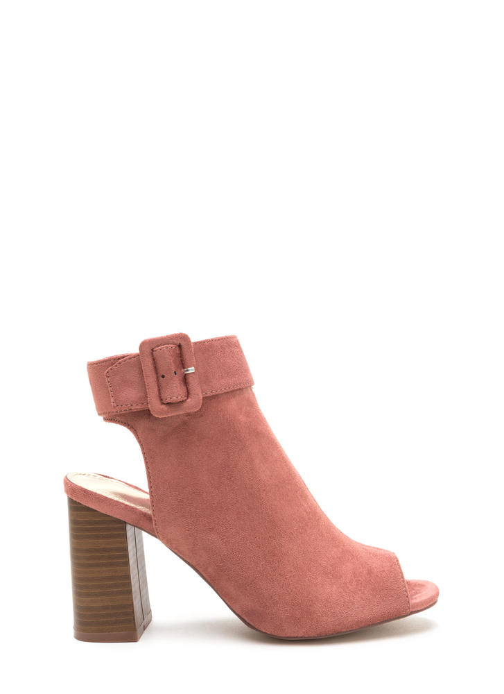 My Business Faux Suede Chunky Heels DUSTYPINK