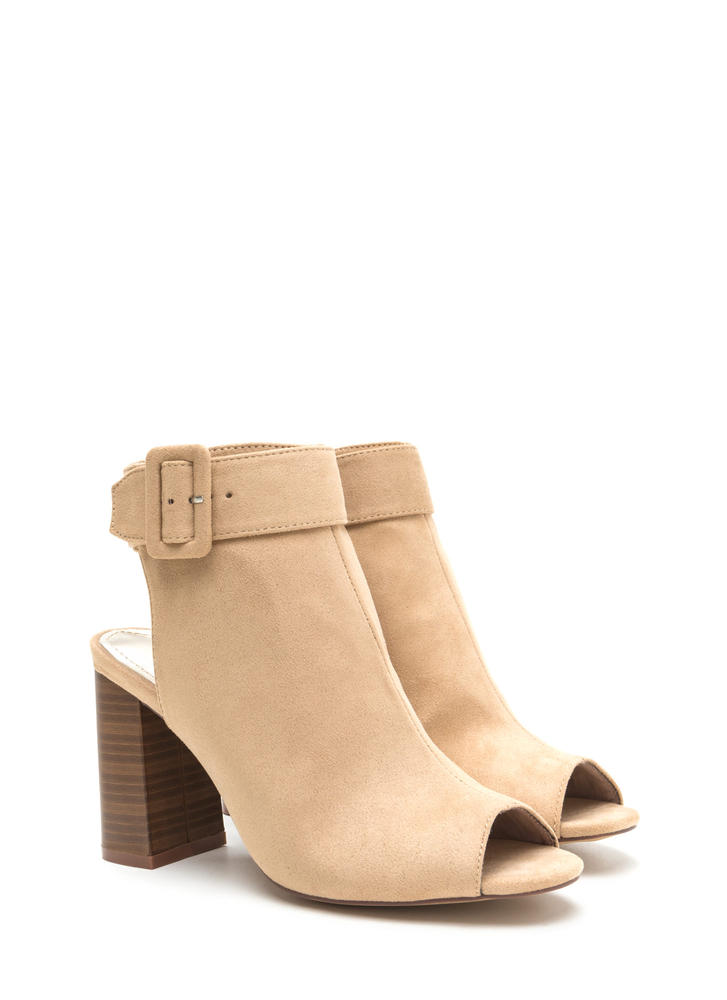 My Business Faux Suede Chunky Heels NUDE