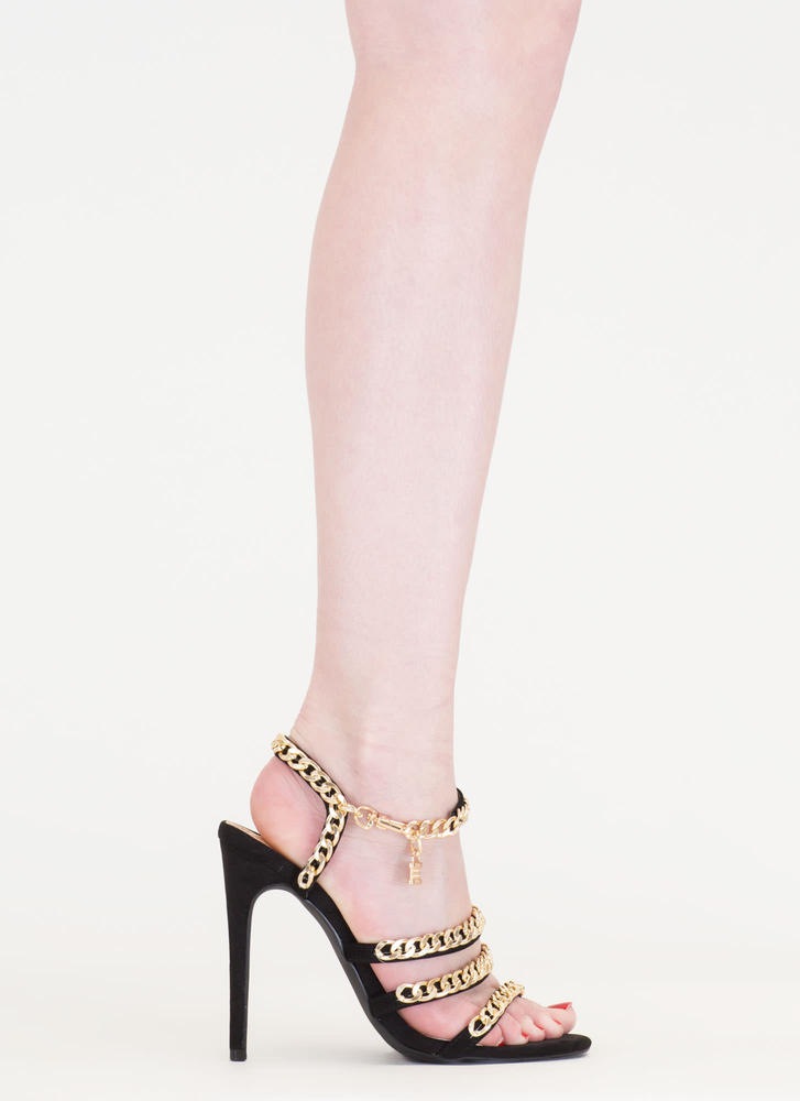 Locked In Strappy Chain Heels BLACK