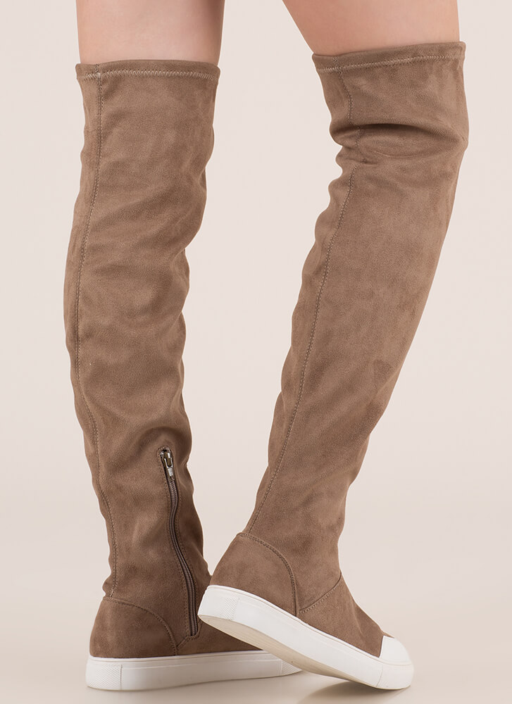 Way Up Top Thigh-High Sneaker Boots TAUPE