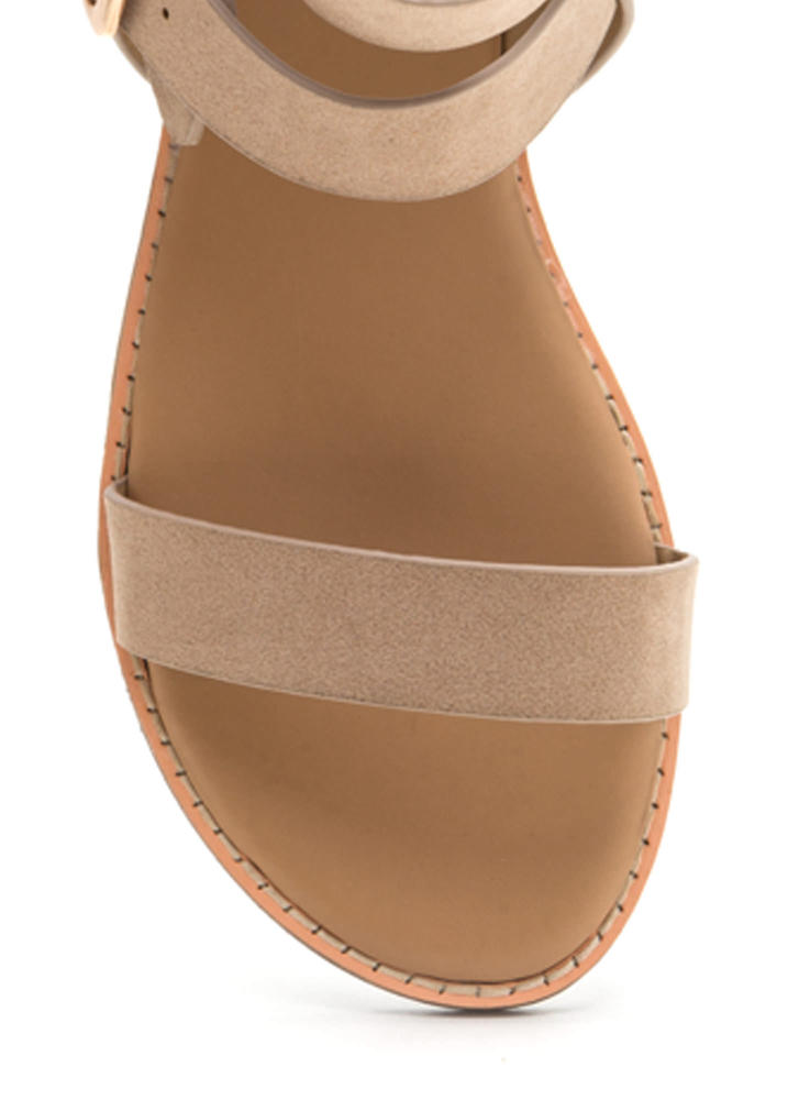 Seeing Double Buckled Faux Suede Sandals NUDE
