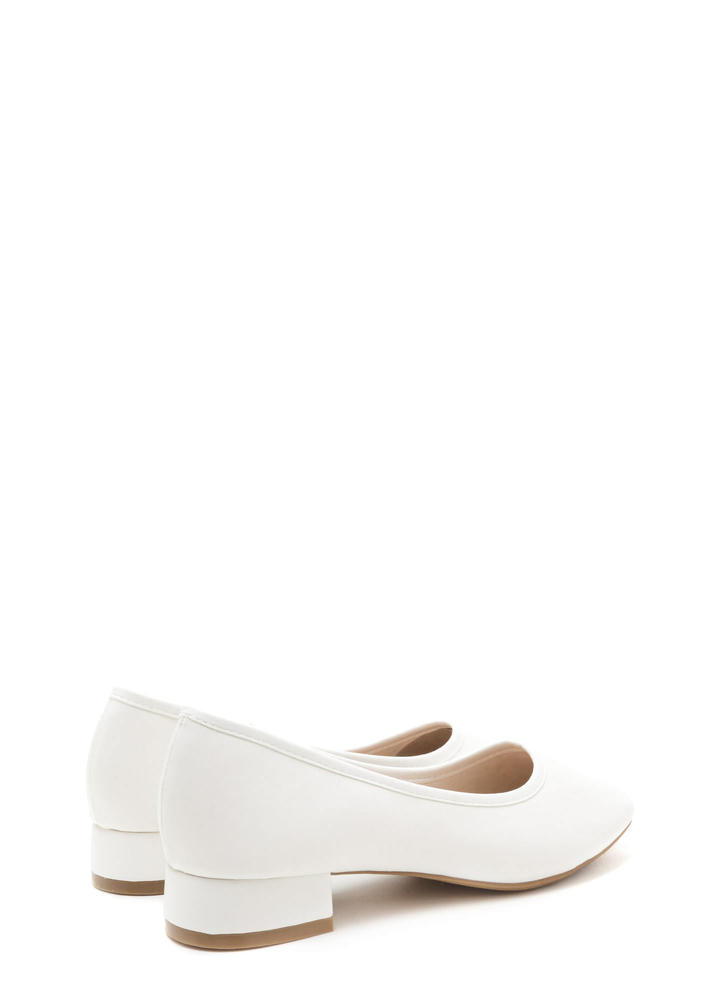 Short And Sweet Block Heel Pumps WHITE