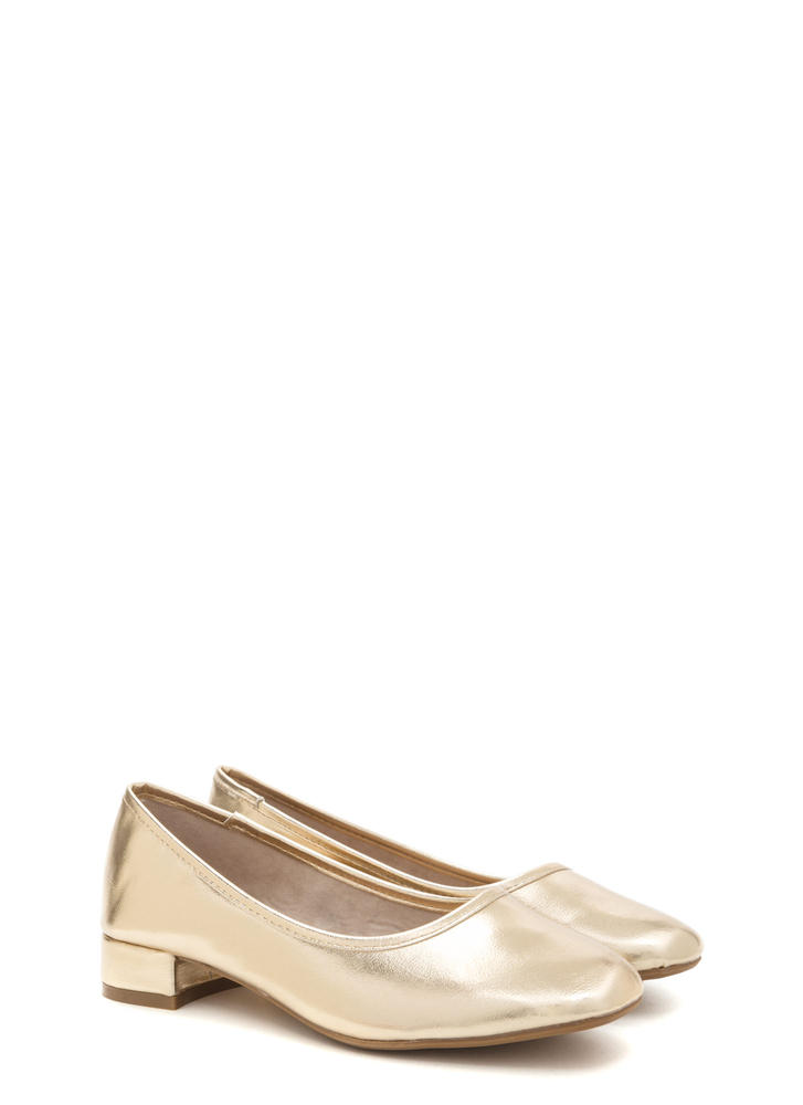 Short And Sweet Shiny Block Heel Pumps GOLD (Final Sale)