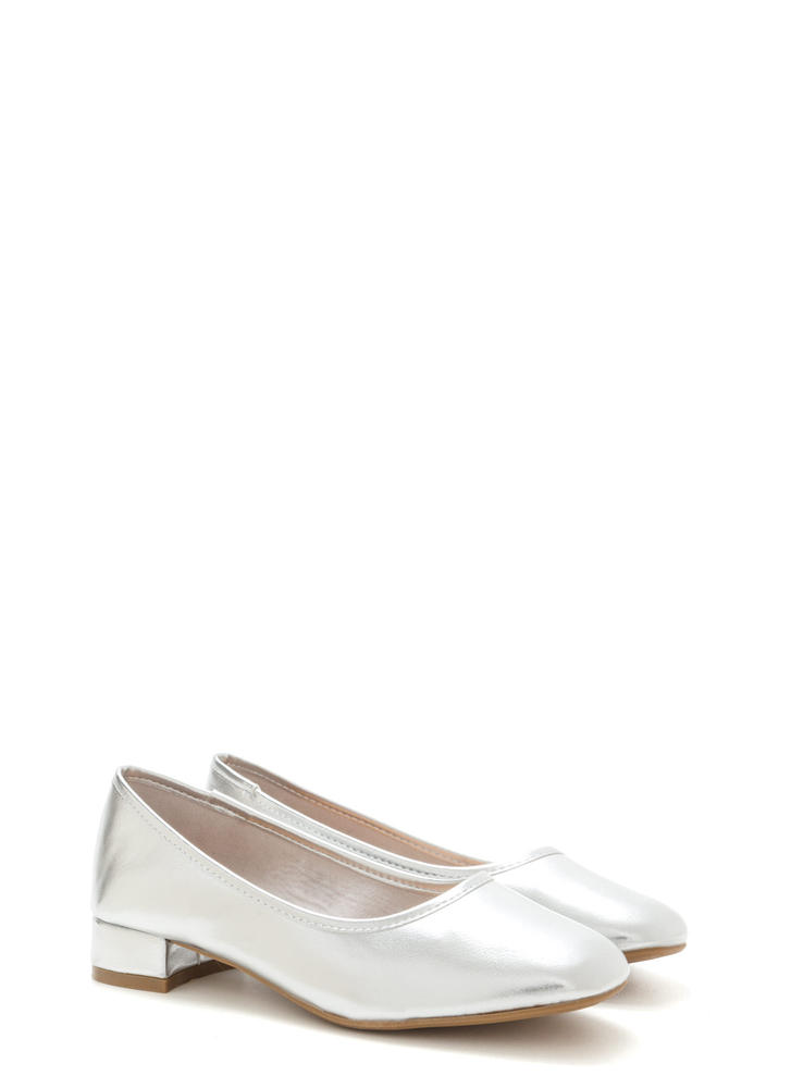 Short And Sweet Shiny Block Heel Pumps SILVER (Final Sale)