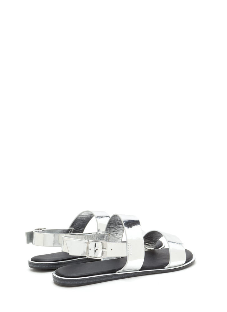 Sleek Aesthetic Strappy Metallic Sandals SILVER