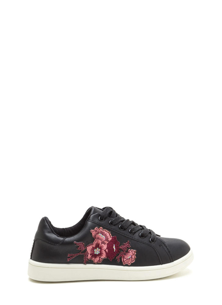 Petal Pusher Embroidered Sneakers BLACK
