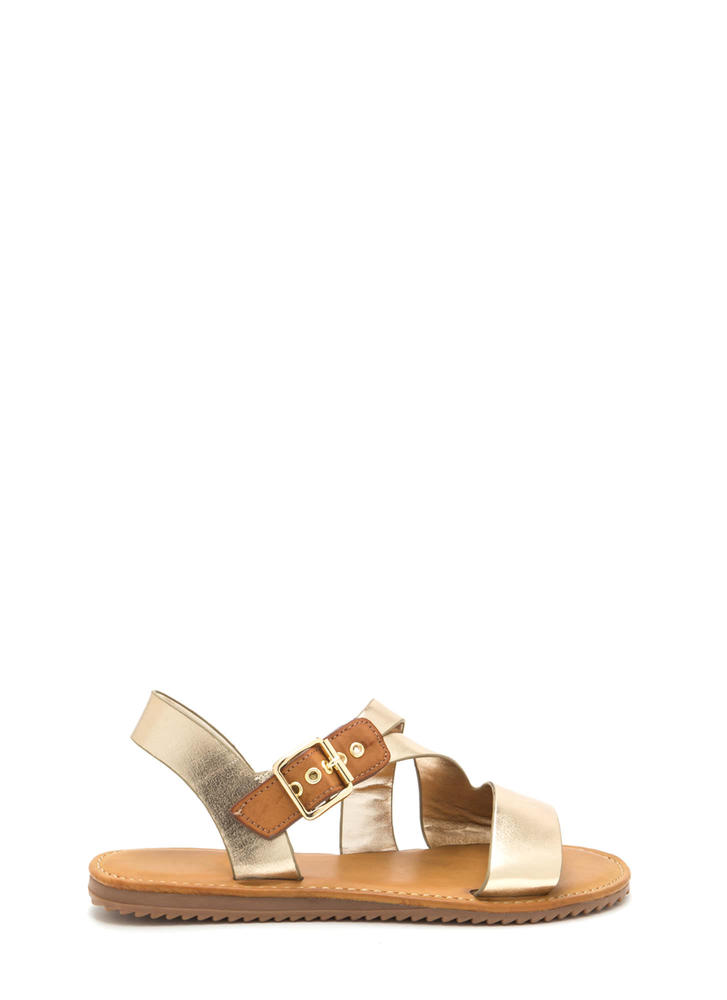 Warrior Style Strappy Metallic Sandals GOLD