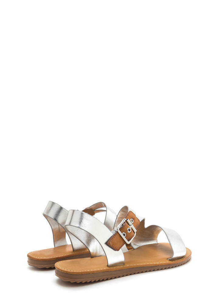Warrior Style Strappy Metallic Sandals SILVER